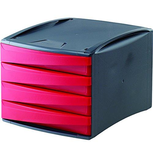 Fellowes G2Desk mit 4 Schubladen aus 80% Recyclingmaterial, dunkelgrau/rot