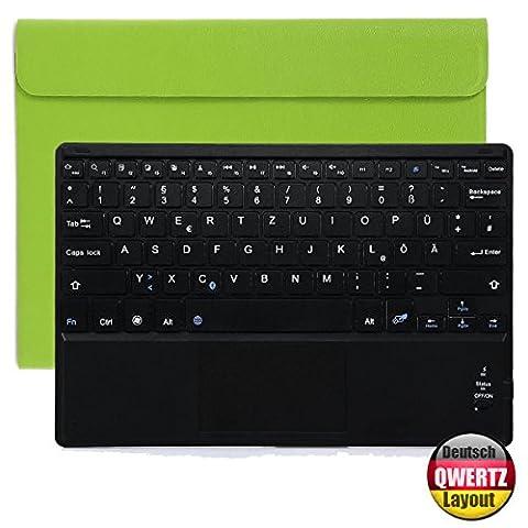 CoastaCloud Bluetooth Tastatur mit Touchpad Deutsch Layout QWERTZ + PU-Leder Schutz Hülle mit Standfunktion für 10 Zoll Tablet (9,6/ 9,7/ 10,1 Bildschirm)