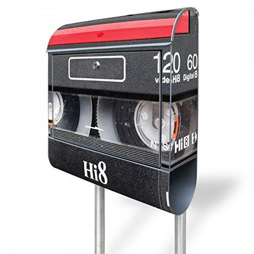 banjado - Standbriefkasten Motivbriefkasten mit Ständer und Motiv Video Kassette