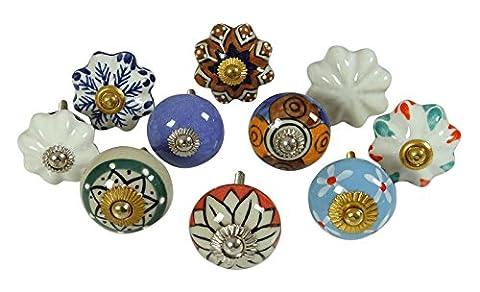 Vintage Tiroir Céramique Pull Multicolore Knob Uniques Boutons Cabinet Lot De 10 Pièces
