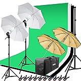 Hakutatz Green Screen Kit illuminazione Fotografica Set Luci Studio fotografico con 2X125 W lampada Sfondo Fotografico Ombrello