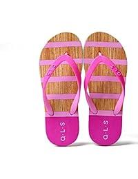 Hippolo Damen Sandalen Rutschfeste PVC-Druck Flip-Flops Männer Damen Strand Kinder Hausschuhe Startseite (39, Dunkelgrau)