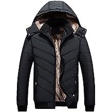 Uomo Cappotto Parka Invernale, Addensare Giacca in giù Cappotto Jacket Giacche Cappotti con Cappuccio