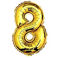 Glanzzeit 32 Inch Gold Foil Balloons Letters A to Z Numbers 0 to 9 Prom Wedding Birthday Party Decoration (Number 8)