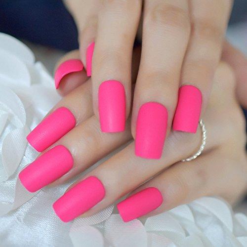 EchiQ Pink Rose matt Falsche Nägel, Rosa, Rot mattiert Kunstnägel mit Spitze, Nail Art Tips auf, Maniküre-Zubehör