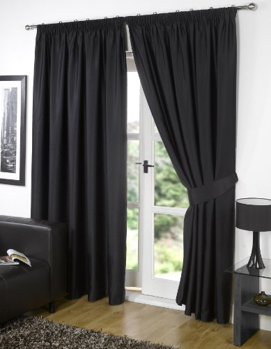 Viceroybedding Pair of BLACK 46″ Width x 54″ Drop, Supersoft Thermal BLACKOUT Curtains INCLUDING PAIR OF MATCHING TIE BACKS, Winter Warm but Summer Cool' by VICEROY BEDDING