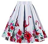 Eudolah Damen Kleid Vintage Sommerrock Knielang Faltenrock Stoffdreuck Rot Vogel Gr.2XL