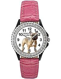 Bulldog francés Reloj del cuero para mujer con piedrecillas