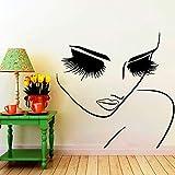 xingbuxin Salon Mädchen Schönheit Gesicht Friseur Haar Kunst Wandtattoos Salon Hübsches Gesicht Nahaufnahme Augen Lange Wimpern Room Decor Wandbild 1 75x75cm