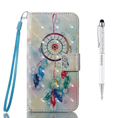 Grandoin Galaxy A5 2017 Hülle, Handyhülle im Brieftasche-Stil für Samsung Galaxy A5 2017 Handytasche PU Leder Flip Cover 3D Bunte Muster Book Case Schutzhülle Etui Case (Windspiel) - Mehrzweck Brieftasche