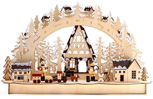 BRUBAKER 3D LED Lichterbogen Schwibbogen - Winterlandschaft mit Holzarbeitern - LED Beleuchtung - Holz natur - 43,5 x 26,8 x 10,1 cm - Handbemalt