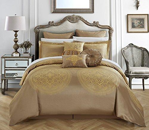 Chic Home 9Stück Orchard Ort Kunstseide Große Medaillon-Jacquard mit Stickerei Details und Zierteile Queen Tröster Set Gold
