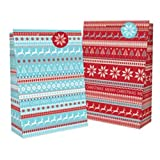 12x Extra Large 'Christmas' Gift Bags- Many Designs Available- 44x32x11cm (12x design (8675))