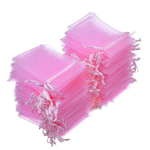 Organza sacchetti buste di festa nozze favore borse gioielli 100 pezzi, rosa
