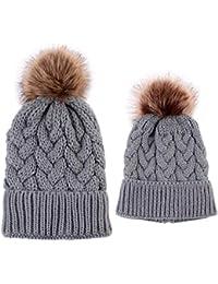 puseky 2PCS Cappelli padre-figlio Madre Bambino Famiglia corrispondenza  Inverno caldo cappello Knit Crochet Pom 22f86121c703