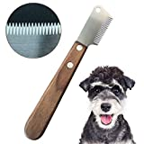 onebarleycorn - Coltello da Stripping a Denti Stretti,Professionale Spogliarello Knife Coarse Ergonomic Wooden Stripping Knife per Cani