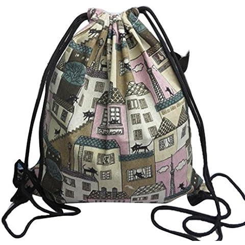 Clode® Mochilas unisex Retro impresión bolsas Drawstring mochila