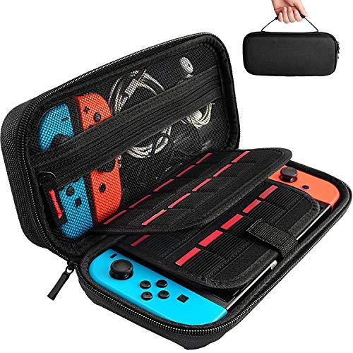 Hestia goods custodia per nintendo switch - 20 cartucce di gioco custodia protettiva da viaggio custodia rigida per nintendo console e accessori, nero