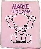 Wolimbo Flauschdecke Babydecke mit Namen ELEFANT rosa