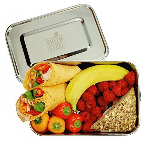 Green Steel: XXL Edelstahl Lunchbox (2400 ml | Silber) Umweltfreundliche Große Brotbox ToGo, Brotdose für Kinder & Erwachsene (Lunch-box)
