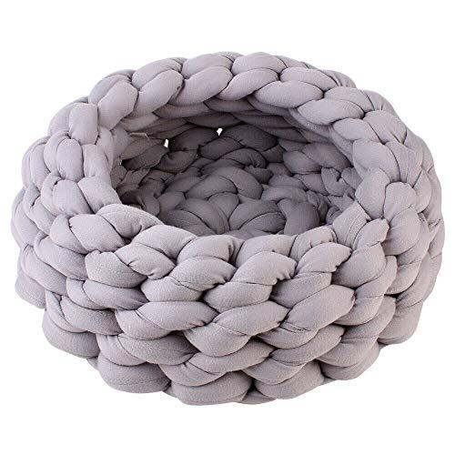 Unda118 Hundebett Medium Welpen groß Waschbar Memory-Schaum Knitting Baumwolle Großer Fressnapf Hunde Katzen Bett warm weich Kennel Mat Puppy Kissen Haus (Color : Gray, Size : 40cm)