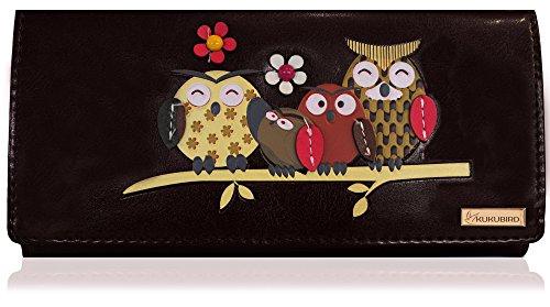 Kukubird Owl Family Tree Motif Grande Taille Femme à main d'embrayage Portefeuille 2 NOIR