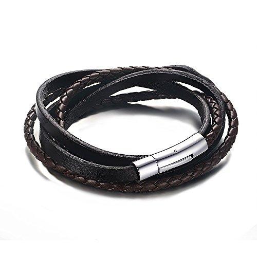 BOBIJOO Jewelry - Bracelet en Véritable Cuir Marron Entrelacé Fermeture Sécurisée Acier Inoxydable Argenté - 55 cm, Marron Marron