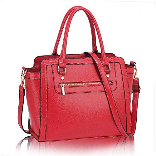 TrendStar Frau Des Faux Leder Handtasche Neu Damen Schulter Taschen Für Leinentrage Entwerfer Stil Berühmtheit Des Faux Leder B - Rosa
