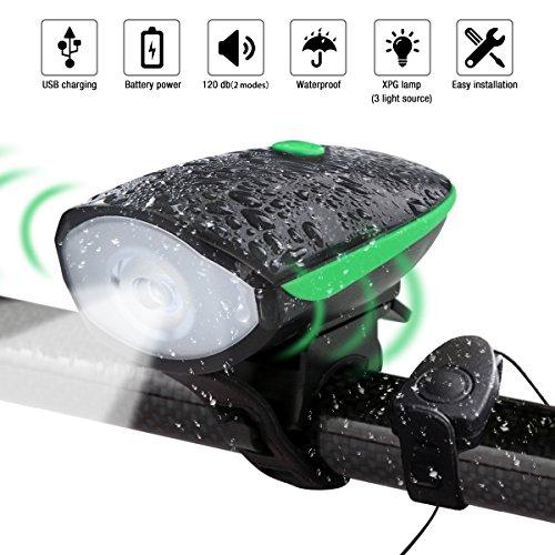 LED Fahrradbeleuchtung USB Wiederaufladbare 2 in 1 Bike Licht with Sperkers Auto Scheinwerfer mit Glocken elektronische Glocken Fahrräder mit LED-Leuchten mit Lautsprechern ausgestattet - Kailian