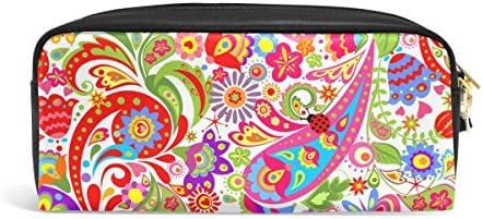 Zzkko coloré ethnique Paisley Fleur Cuir Fermeture Éclair Trousse Stylo papeterie Sac Cosmétique Maquillage Sac pochette Sac à main B0792SVW5L   Extravagant