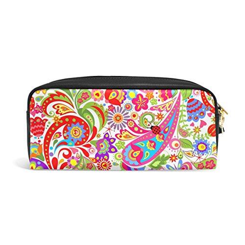 zzkko Colorful Ethnic Paisley flor funda de piel cremallera lápiz pluma estacionaria bolso de la bolsa de cosméticos bolsa bolso de mano