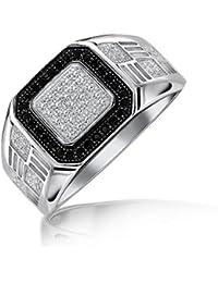 Bling Jewelry Caballero Negro Cuadrado allanar CZ anillo de compromiso Plata Esterlina 925
