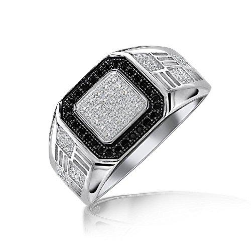 Herren Geometrische Sterling Silber Micro Ebnen Halo Quadrat Weiß Schwarz CZ Zirkonia Pinky Verlobungsring Für Herren (Quadrat Verlobungsring Cz)