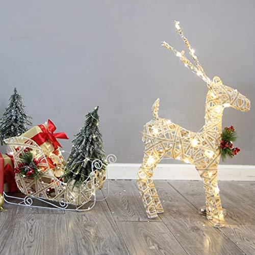 Ornement de Noël avec chariot européen en rotin, boîte de cadeau de Noël pour panier de petit animal de Noël, éclairée par une batterie pour décorations de Noël, décoration intérieure, salle à manger,