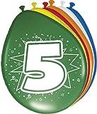 Folat Ballon bunt Luftballons Zahl 5 Geburtstag 8 St. Deko Ballons Party