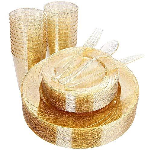 Opfury 150pcs Gold-Kunststoffplatten mit Einweg-Kunststoff Gold Cups - Gold Glitter Design umfassen 25 Teller, 25 Salatplatten, 25 Gabeln, 25 Messer, 25 Löffel & 10 Unzen Plastikbecher (Gold Kunststoff Cups)