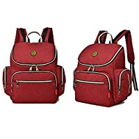 14 Pockets Baby Diaper Bag Organizer Water Resistant Oxford Fabric Travel Backpack with Changing Pad and Welkey Stroller Straps (Red)