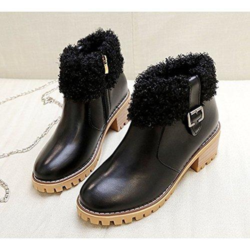 abbigliamento punta donna Comfort tonda Autunno Black casual HSXZ tallone Beige Inverno stivaletti Stivali di Stivali Scarpe nero Chunky pu moda Babbucce p5qxwnaPx