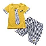 Baywell Kinder Baby Jungen Mädchen Kleidung Sets, Nette Krawatte Kurzarm Top + Shorts Sommer Outfit Set (L/2-3 Jahre, Gelb)