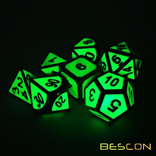 eln Leuchten Solide Metall Polygonal Würfel Spielwürfel Würfeln für DND Dungeons und Dragons, Helle Metallic RPG - Rollenspiel Polyedrische Dice 7pcs Set d4 d6 d8 d10 d12 d20 d% ()