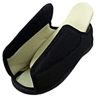 Surf 4 Shoes Mens Ladies Open Toe Very Wide E/5E Opens Out Flat Memory Foam Diabetic Slippers Touch Fastening Size 7 UK (EU 41)