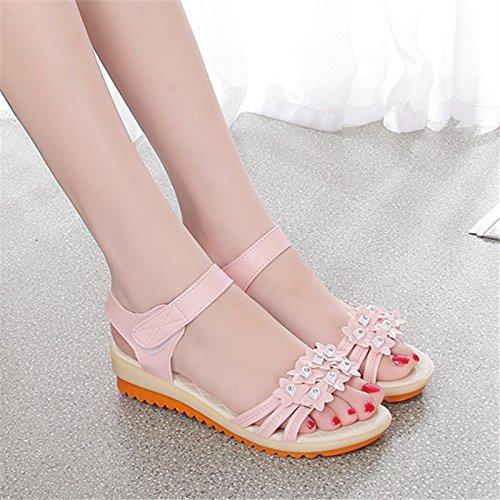 fan4zame Sommer Rom flach Sandalen Damen Toe Flach mit Schwangere Frauen weiche Sohle rutschfeste Schuhe Studenten Schuhe Cool bequem atmungsaktiv Sandalen 39 Pink