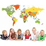 PopDecors Educational World Map 50 inch for Kids Room Wall Decal Vinyl Wall Sticker Wall Mural Playroom Vinyls Children Wall Arts by Pop Decors