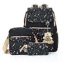 Hotrose 3X Girl School Bags Travel Canvas Rucksack Backpack School Shoulder Bag Cross Body Messenger Bag (Black)