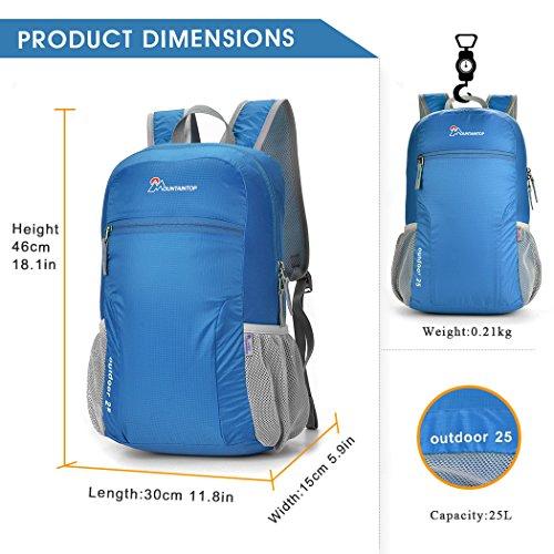 Mountaintop 25L Zaino Pieghevole leggero Packable per i viaggio, il Campeggio, Trekking, Scuola, Sport, Ultraleggero e Pratico blu