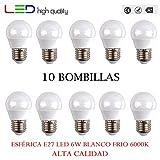 LED sphérique (Pack 10 unités) 6 W 200 ° blanc froid 6000 K e27 520LM 220 V-240 V haute qualité