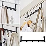 HOME CUBE® 1Pc Multifunctional 5 Metal Door Hook Organiser/Wall Hook Hanger for Hanging Clothes, Jeans, Umbrellas, Jackets, Scarfs, Bags, Keys, Towel in Room, Kitchen, Bathroom etc