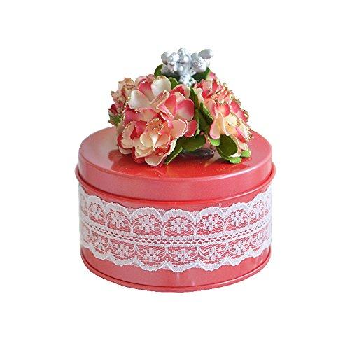 moleya 5PCS Weißblech zarten Zylindrische Hochzeit Candy Geschenk Box für Box mit Einzigartiges Blume für Brautschmuck und Baby Dusche, Zinn, Rot, Diameter of 3.94