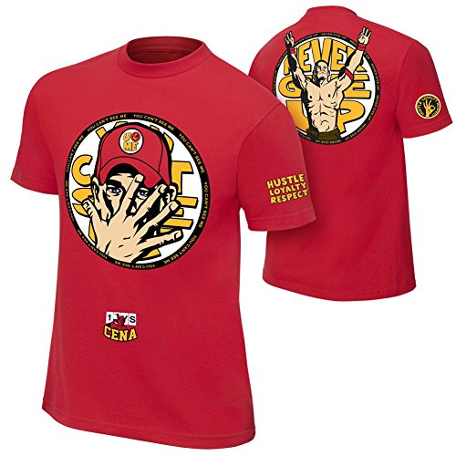 Brandsoon Men's WWE Cotton Round Neck Red Ruber Print XL Size T-shirt( John Cena Print)  available at amazon for Rs.422