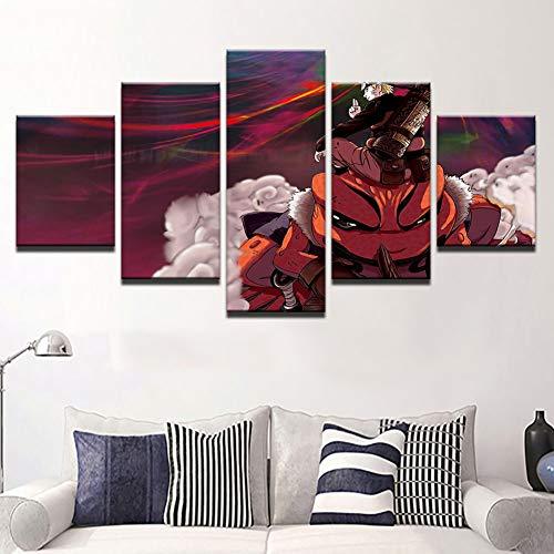 ZEMER Naruto Leinwanddrucke - 5 Stück Leinwand Naruto Schlacht Kunstwerk auf Leinwand Wandkunst für Büro und Home Wall Decor,A,40x60x2+40x80x2+40x100x1